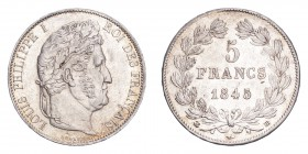 FRANCE. Louis Philippe, 1830-48. 5 Francs 1845-BB, Strasbourg. 25 g. KM-749.3. Extremely fine.