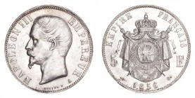 FRANCE. Napoleon III, 1852-70. 5 Francs 1856-A, Paris. 25 g. Calendar year mintage 4,683,000. KM-782. About uncirculated.