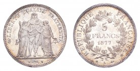 FRANCE. Third Republic, 1870-1940. 5 Francs 1877-A, Paris. 25 g. KM-820. Choice uncirculated.