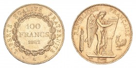 FRANCE. Third Republic, 1870-1940. Gold 100 Francs 1882-A, Paris. 32.25 g. KM-832. About uncirculated.