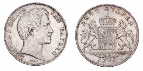 GERMANY: BAVARIA. Ludwig I, 1825-48. 2 Gulden 1846, Munich. 21.18 g. Calendar year mintage 1,523,180. J-63; KM-819. Uncirculated.