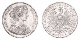 GERMANY: FRANKFURT. Free city. 2 Taler 1866, Frankfurt. 37.04 g. Calendar year mintage 637,033. J-43; KM-365. About uncirculated.