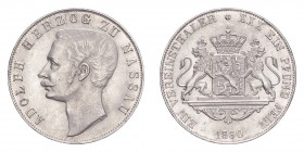 GERMANY: NASSAU. Adolf, 1839-66. Taler 1860, 18.5 g. Calendar year mintage 30,030. J-60; KM-75. Uncirculated.