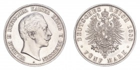 GERMANY: PRUSSIA. Wilhelm II, 1888-1918. 5 Mark 1888-A, Berlin. 27.77 g. Calendar year mintage 56,204. KM-513, J-101. Small eagle, scarce. Uncirculate...