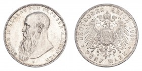 GERMANY: SAXE-MEININGEN. Georg II, 1866-1914. 5 Mark 1902-D, Dresden. 27.77 g. Calendar year mintage 20,000. KM-200; J-153. Scarce in this grade. Abou...