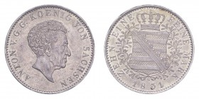 GERMANY: SAXONY. Anton, 1827-36. Taler 1831-S, Dresden. Calendar year mintage 697,332. J-60; KM-1121. About uncirculated.