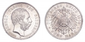 GERMANY: SAXONY. Albert, 1873-1902. 5 Mark 1902-E, Muldenhutten. J-128. Choice uncirculated.