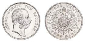 GERMANY: SAXONY. Georg, 1902-04. 5 Mark 1904-E, Muldenhutten. 27.77 g. KM-1258, J-130. Choice uncirculated.