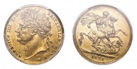 GREAT BRITAIN. George iV, 1820-30. Gold Sovereign 1821, London. 7.99 g. S-3800. In US plastic holder, graded PCGS AU58, certification number 35767757.
