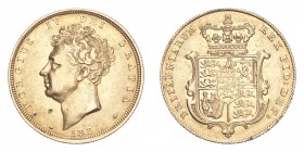 GREAT BRITAIN. George IV, 1820-30. Gold Sovereign 1830, London. 7.99 g. S-3801. Very fine, digs on obverse.