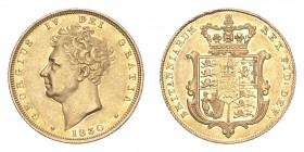 GREAT BRITAIN. George IV, 1820-30. Gold Sovereign 1830, London. 7.99 g. S-3801. Good very fine.