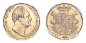 GREAT BRITAIN. William IV, 1830-37. Gold Sovereign 1832, London. 7.99 g. S-3829B. In US plastic holder, graded NGC MS63+, certification number 4829896...
