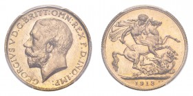 AUSTRALIA. George V, 1910-36. Gold Sovereign 1913-M, Melbourne. 7.99 g. S-3999. In US plastic holder, graded PCGS MS64, certification number 83972047.