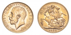 AUSTRALIA. George V, 1910-36. Gold Sovereign 1927-P, Perth. 7.99 g. S-4001. Uncirculated.