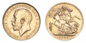 SOUTH AFRICA. George V, 1910-36. Gold Sovereign 1927-SA, Pretoria. 7.99 g. S-4004. Uncirculated and lustruous.