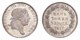 GREAT BRITAIN: BANK OF ENGLAND ISSUE. George III, 1760-1820. 3 Shillings 1812, London. S-3770. Choice uncirculated.