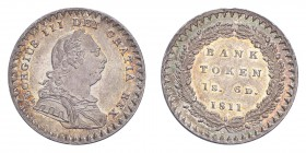 GREAT BRITAIN. George III, 1760-1820. Eighteenpence Banktoken 1811, London. S-3771. Extremely fine.