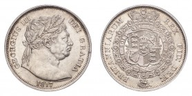 GREAT BRITAIN. George III, 1760-1820. Half-Crown 1817, London. 14.2 g. S-3788. Large bull head. About uncirculated.