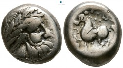 "Eastern Europe. ""Dachreiter"" type. Imitations of Philip II of Macedon 200-0 BC. Tetradrachm AR"