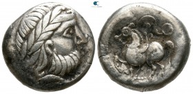 "Eastern Europe. ""Dachreiter"" type. Imitations of Philip II of Macedon 100 BC. Tetradrachm AR"