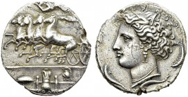 Dyonisos I, 406-367 BC. Silver Decadrachm 400 BC. Obv. Fast quadriga driven left by charioteer, holding reins and kentron; in field above, Nike flying...