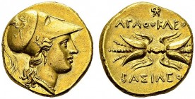 Gold Stater 295-298 BC. Obv. Helmeted head of Athena right. Rev. ΑΓΑΘΟΚΛΕΟΣ ΒΑΣΙΛΕΟΣ. Winged fulmen. Sear 970; SNG ANS 705 (same dies). AU. 5.65 g. Ni...