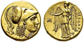 Macedonian kingdom. Alexander III, 336-323 BC. Gold Stater 323-319 BC, Miletus. Obv. Helmeted head of Athena right. Rev. AΛEΞANΔPOY. Nike standing lef...