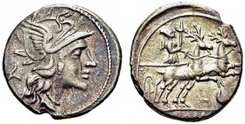 Anonymous. Denarius 143 BC, Rome. RRC 222/1; Syd. 438. AR. 3.56 g. VF+