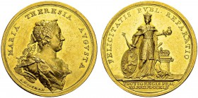 Maria Theresa, 1740-1780. Medallic 10 Ducats 1743 by A. Wideman. 49.5 mm. Coronation of Maria Theresa as queen of Bohemia. Obv. MARIA THERESIA AVGVSTA...
