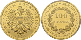 Republic, 1918-1938. 100 Kronen 1924, Vienna. Obv. REPUBLIK ÖSTERREICH. Crowned eagle holding hammer and sickle, coat of arms on his chest. Rev. 2952 ...