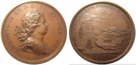 French colony. Louis XV, 1715-1774. Bronze medal ND by Duvivier. 42 mm. Founding of Louisbourg in 1720. Betts 143. BR. 30.94 g. RR XF