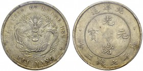 Chihli. 1 Dollar Year 34 (1908). Clouds connected. Obv. 34th YEAR OF KUANG HSÜ / PEI YANG. Flying dragon. Rev. Kuang-hsü Yüan-pao. Y. 73.2; LM 465. AR...