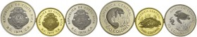 Set of three coins 1974 : 50 Colones, 100 Colones and 1500 Colones. Conservation series. Total (3). KM 200a, 201a, 202. AR (2), AU. 28.28, 35.00, 33.4...