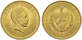 20 Pesos 1915, Philadelphia. Obv. PATRIA Y LIBERTAD. Head of José Martí right. Rev. REPUBLICA DE CUBA / VEINTE PESOS. Coat of arms. KM 21; Fr. 1. AU. ...