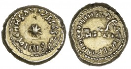 ARAB-LATIN COINAGE, TEMP. AL-WALID I (86-96h), Globular solidus/dinar, Spania, dually dated 93h/Indiction XII. Obverse: Legend around eight-pointed st...