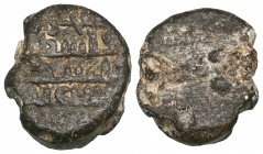 UMAYYAD Lead seal, date unread. Obverse: in four lines: shajarat | Filast- | in… (rest unread, possibly including sanat and so including a date). Weig...