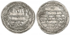 ABBASID, AL-MA'MUN (194-218h), Dirham, Naysabur 203h. Reverse: citing the Shi'ite al-Rida as heir to the caliphate. Weight: 3.05g Reference: Lowick 23...