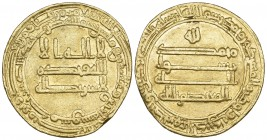 ABBASID, AL-MU'TASIM (218-227h), Dinar, Dimashq 224h. Weight: 4.07g Reference: Bernardi 151Ge. Edge shaved, very fine and very rare