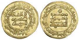 ABBASID, AL-MUQTADIR (295-320h), Dinar, Madinat Zaranj 302h. Obverse: without name of heir in field. Weight: 4.15g References: Bernardi 237Of RRR = Ll...
