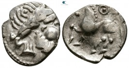 "Eastern Europe. Imitation of Philip II of Macedon circa 200-0 BC. ""Kugelwange"" type. Drachm AR"