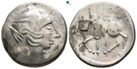 "Eastern Europe. Mint in the region of Transylvania. Imitations of Philip II of Macedon circa 200-100 BC. ""Sattelkopfpferd"" type. Tetradrachm AR"