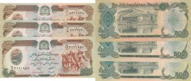 Afghanistan, 500 Afganis, 1979-1991, UNC, p60a-p60b-p60c