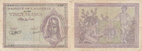 Algeria, 20 Francs, 1943, FINE /VF, p92a