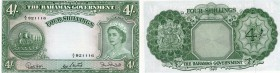 Bahamas, 4 Shillings, 1954, XF (+), p13b