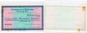 Barbados, 10000 Dollars, AUNC - UNC, Act of 1922