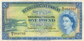 Bermua, 1 Pound, 1966, VF-XF, p20d