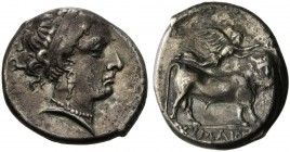 Campania, Cumae, Didrachm, ca. 325-300 BC; AR (g 7,43; mm 21; h 9); Head of nymph r., wearing diadem, earrings and necklace, Rv. KYMAIΩN, man-faced bu...