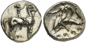 Apulia, Tarentum, Nomos, ca. 332-302 BC; AR (g 7,91; mm 20; h 2); Horseman galloping r., crowing horse; below, ΦI, Rv. TAPAΣ, dolphin rider l., holdin...
