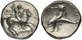 Apulia, Tarentum, Nomos, ca. 302-280 BC; AR (g 7,87; mm 20; h 4); Horseman galloping r., holding shield and spears; on l., ΣI; below, ΛYKΩN, Rv. TAPAΣ...