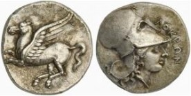 Bruttium, Lokroi Epizephyrioi, 'Corinthian standard' Stater, ca. 350-275 BC; AR (g 8,32; mm 21; h 3); Pegasos flying l., Rv. ΛOKPΩN, helmeted head of ...